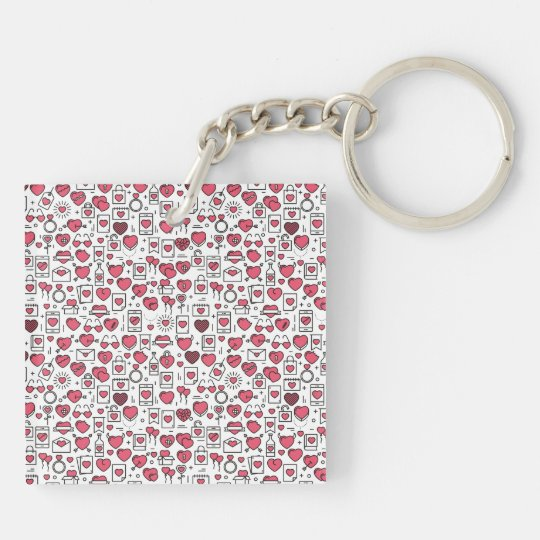Lovely Assorted Hearts and Icons Keychain