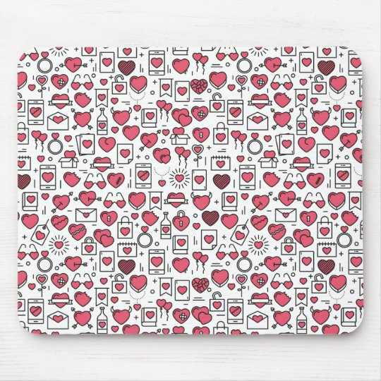 Lovely Assorted Hearts and Icons | Mousepad