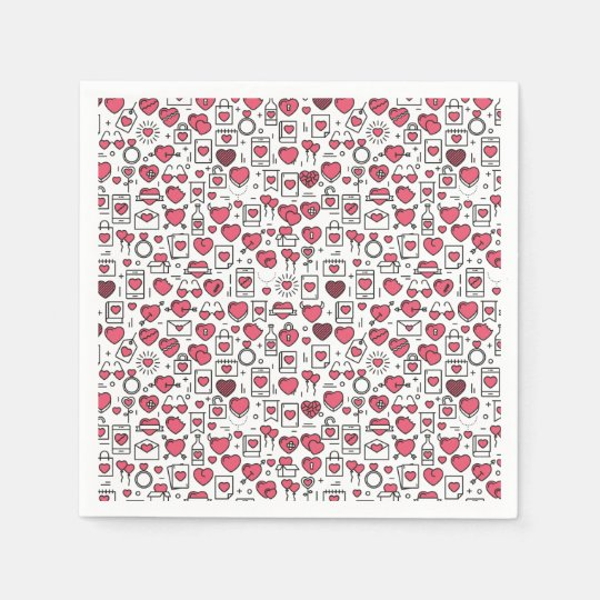 Lovely Assorted Hearts and Icons Sketch | Napkin Disposable Serviettes