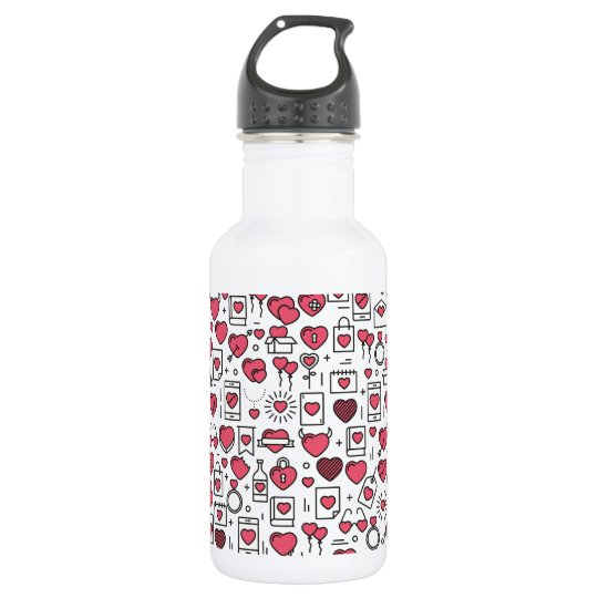 Lovely Assorted Hearts and Icons Water Bottle
