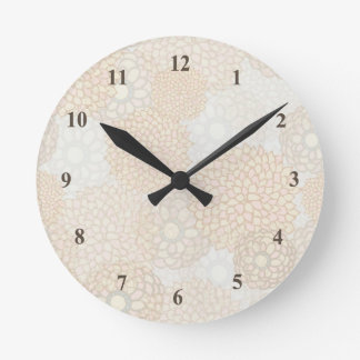 Lovely Beige Rustic Floral Round Clock