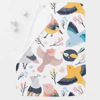 Lovely Birds & Flowers Baby Blanket