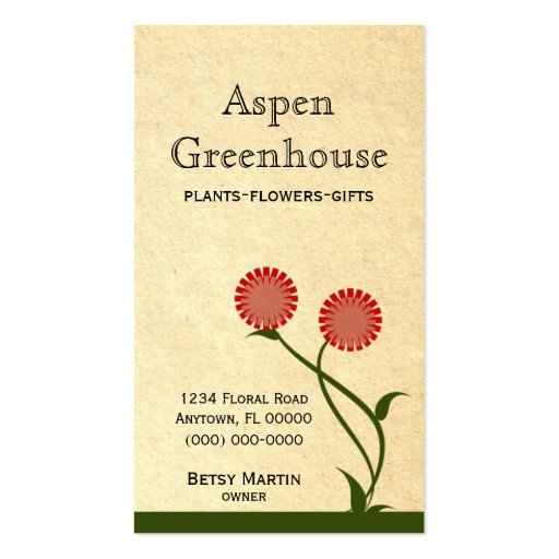 Lovely Blooms Business Card, Red