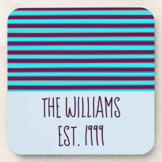 Lovely Blue and Purple Stripes Coaster