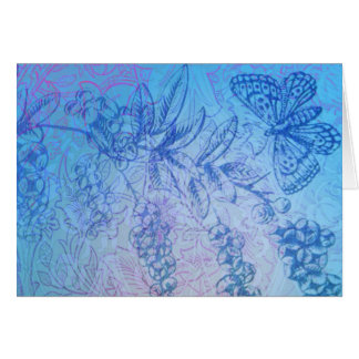 Lovely Blue Butterfly & Berries note card