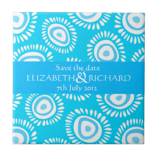 Lovely blue funky flowers Save the date Tile