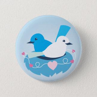 Lovely Blue love birds wren white 6 Cm Round Badge