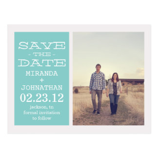 Lovely Blue Photo Save The Date Post Cards