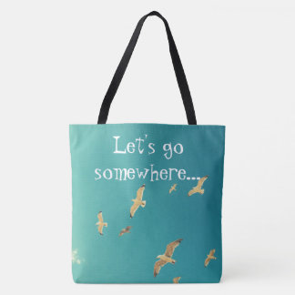 Lovely blue tote bag with photo of seagull and sky