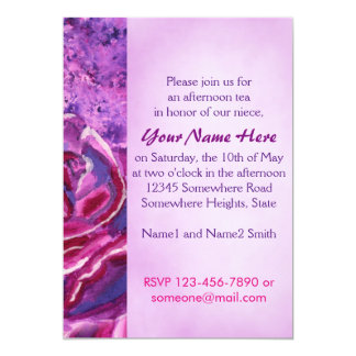 Lovely Blue Violet Winter Roses Acrylic Painting 13 Cm X 18 Cm Invitation Card