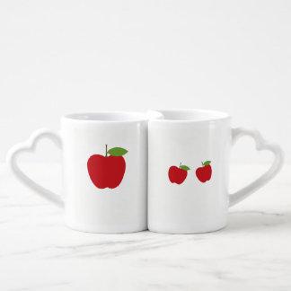Lovely bright apple designed mugs for couples..
