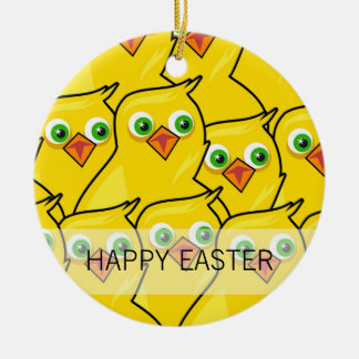 Lovely Bright Yellow Easter Chickens Ceramic Ornament