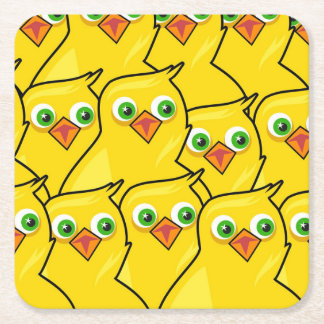 Lovely Bright Yellow Easter Chickens Square Paper Coaster