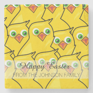 Lovely Bright Yellow Easter Chickens Stone Coaster