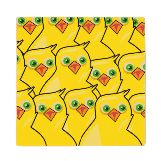 Lovely Bright Yellow Easter Chickens Wood Coaster