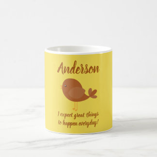 Lovely Brown Bird Positive Saying Coffee Mug