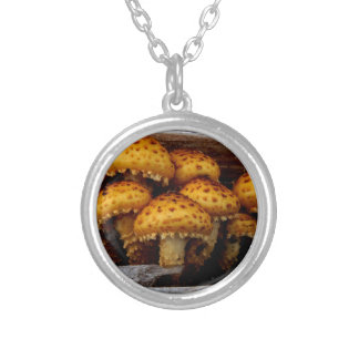Lovely Bunch of Wild Mushrooms Silver Plated Necklace