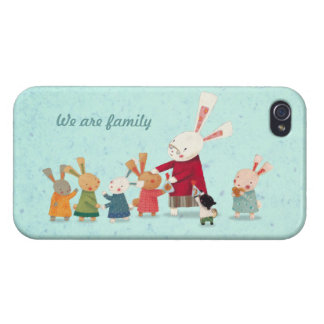 Lovely Bunny Rabbit Family iPhone 4 Case