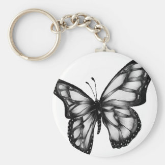 Lovely Butterfly Basic Round Button Key Ring
