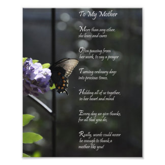 """Lovely Butterfly """"To My Mother"""" Thank You Poem Art Photo"""
