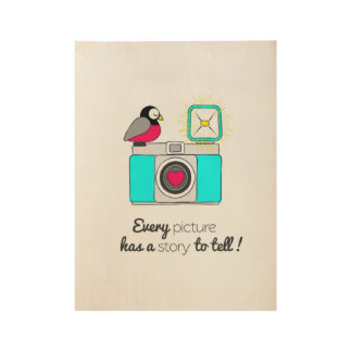 Lovely camera with cute bird. wood poster