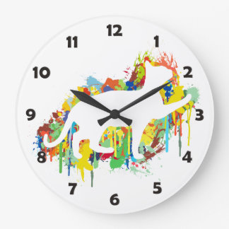Lovely Cat Colorful Painting Splash Large Clock