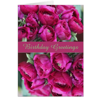 Lovely  Cerise Floral Birthday Greeting Card