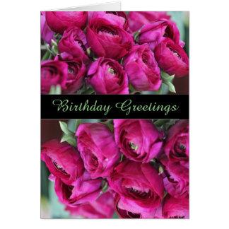 Lovely  CeriseFlowers  Birthday Greeting Card