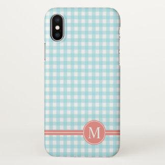 Lovely Checkered Blue Monogram | iPhone X Case
