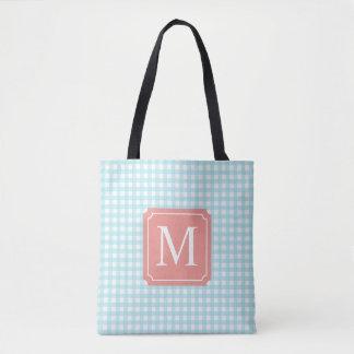 Lovely Checkered Blue Monogram | Tote Bag