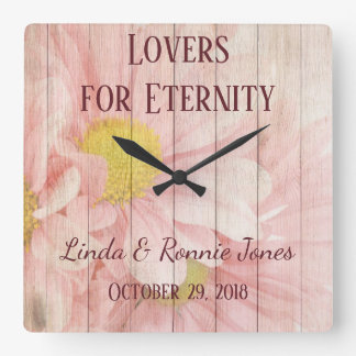 Lovely Chic Floral Wedding Square Wall Clock