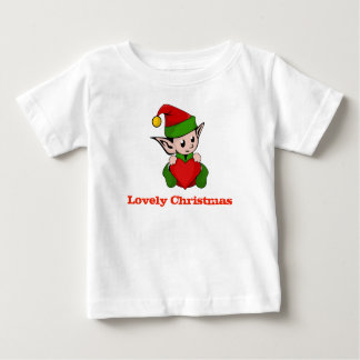 Lovely Christmas Elf Heart Baby Shirt
