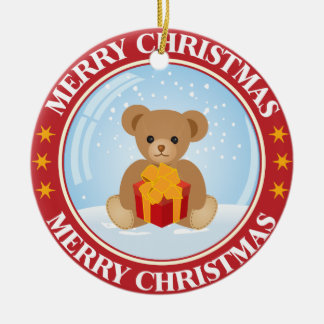 Lovely Christmas Snowball with Cute Bear Inside Round Ceramic Decoration