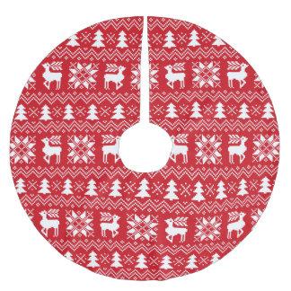 Lovely Christmas Sweater Inspired Red Pattern Brushed Polyester Tree Skirt