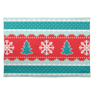Lovely Christmas Trees Snowflakes Red&Teal Design Placemat
