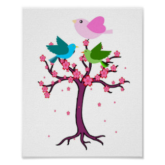 lovely colorful birds and tree Nursery baby Poster