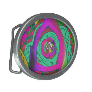 Lovely colorful Floral Monogrammed logo design Belt Buckles