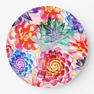 Lovely Colorful Succulent Plant Pattern Large Clock