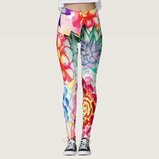 Lovely Colorful Succulent Plant Pattern Leggings