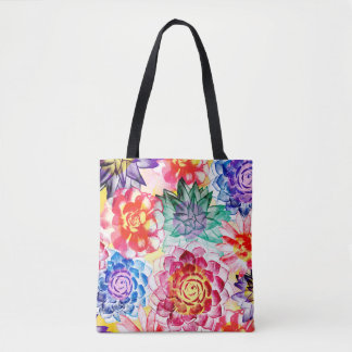 Lovely Colorful Succulent Plant Pattern Tote Bag