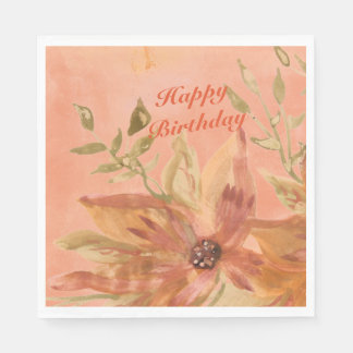 Lovely Coral Peach Watercolor Paper Products Disposable Napkin