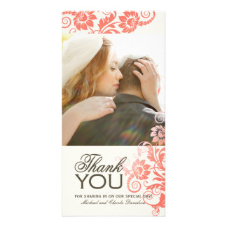 Lovely Coral Thank You Photo Card 4x8