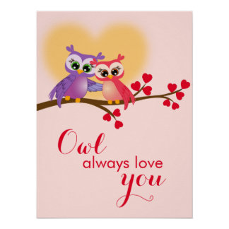 Lovely Couple Owls on a Branch Poster