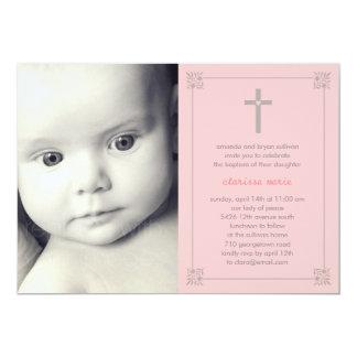 "Lovely Cross Photo Baptism/Christening Invitation 5"" X 7"" Invitation Card"