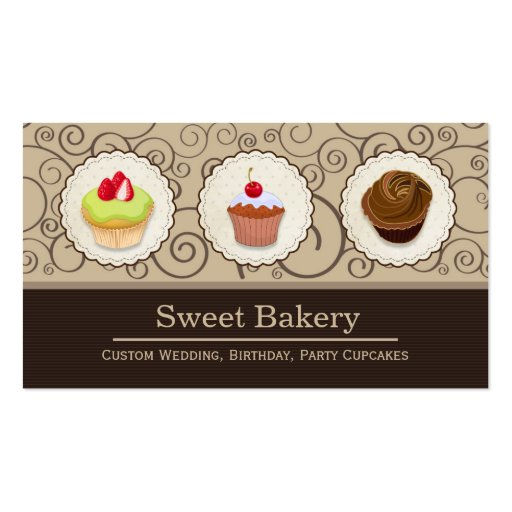 Lovely Custom Cupcakes  - Sweet Bakery Shop Business Cards
