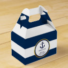 Lovely Custom Nautical Navy Blue Gold Baby Shower Favour Box