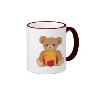 Lovely Cute Bear Holding a Gift Box for You Ringer Mug