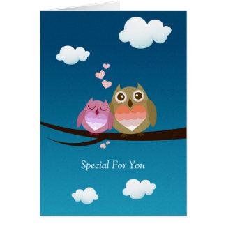 Lovely Cute Owl Couple Full of Love Heart Greeting Card