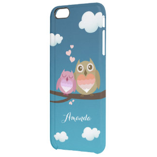 Lovely Cute Owl Couple Full of Love Heart Monogram Clear iPhone 6 Plus Case