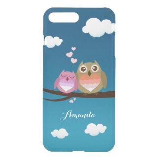 Lovely Cute Owl Couple Full of Love Heart Monogram iPhone 7 Plus Case